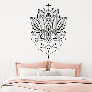 Mandala penceresinde dekar Lotus Duvar sticker Boho vinil Lotus duvar çıkartma çıkartma Yoga stüdyosu Çıkartmaları ev oda çıkartması decols