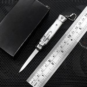 4,75 pouces Mini automatique Couteau miroir lame 7 couleurs résine Poignée clé couteau de défense portable extérieur edc coupe multi-fonctions