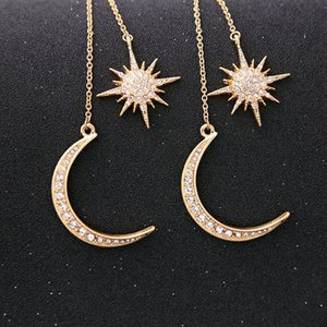 hot Woman's Shiny Crystal Star Moon Earrings Gold Color Crescent Star Charming Earrings for Women Diamond earrings Party SuppliesT2C5135