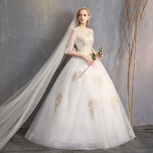 Осень и зима 2019 новый кружева золото простой и аккуратный стиль тонкий белый регулируемый бандаж свадебное платье