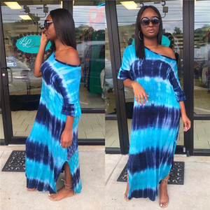 Womens Sexy Dress Blue Striped Digital Print Sexy Long Skirt Short Sleeve Nightclub Dress Ladies Fashion Apparel