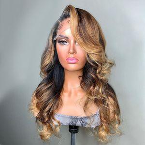 Silk Top parte dianteira do laço do cabelo humano Perucas ondulado Destaque Mel loira Brown peruca cheia do laço Pré arrancada brasileira Remy Para Mulheres