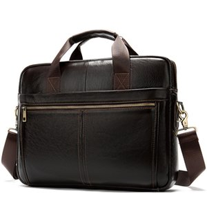 FGGS-Messenger Bag Men'S Leather 14 Inch Laptop Bag Office Briefcase Business Tote Shoulder Portable Handbag For Men