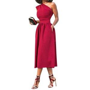 One Off The Shouler Pleating Dress Summer Cocktail Party Dresses 2018 Clothes WS5660Z