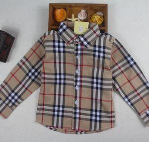 Meninos Camisa Crianças Xadrez Manga Comprida Único Breasted Camisas Estilo Inglaterra Crianças Designer de Roupas de Marca Para O Menino Topos
