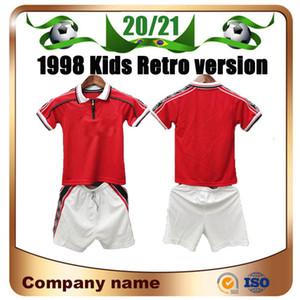 1998 Retro versione Bambini Kit Soccer Jersey 98/99 Manchester Bambino Casa # 7 Beckham Soccer camicia Boy # 11 Giggs SCHOLES RONALDO football