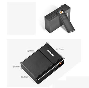 Contenedor del soporte de la caja del cigarrillo 4 colores con el USB encendedor recargable eléctrico 20 unids Capacidad para fumar Herramientas Accesorios Caja 2 estilos
