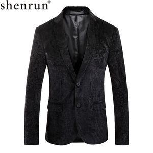 Shenrun Männer Blazer Herbst-Winter-Geprägte Jacken-Qualitäts dünne Art und Weise beiläufige Blazer Bühnenkostüm Sänger Host-Sakkos