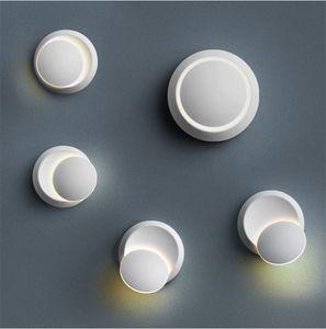 Lámpara de pared LED de la lámpara redonda Pasillo Moderno rotación de 360 grados ajustable de noche las luces 85-265V 6W la lámpara de pared creativa
