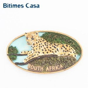 Bitimes Animal 3D Fridge Magnets South Africa Kruger National Park Leopard Magnetic Refrigerator Sticker Resin Aimant Imanes