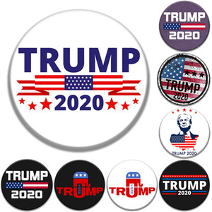 8 style Trump Commemorative Badge brooches pins 2020 American Election Supplies trump badge US Flag party Supply favor 58mm Wholesale JJ464