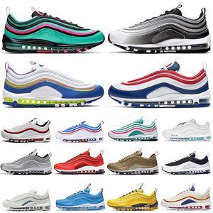 97 97s Easter EUA gráficas Homens Tema Running Shoes prata Iridesce South Beach triplos negros mulheres brancas SE Mens Formadores das sapatilhas esportivas