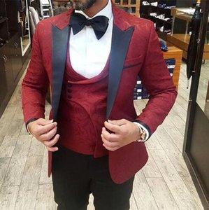 2019 de haute qualité à un bouton rouge tissage jacquard smokings marié Groomsmen Hommes Costumes de mariage Prom Epoux (veste + pantalon + veste + cravate)