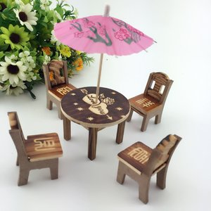 Free shipping Eight Immortals Table baby Wooden table and chair Children's simulation toy House Wooden chair model Mini set