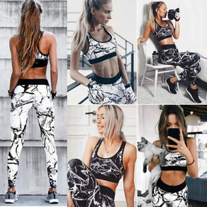 Womens Yoga actifs Yoga costumes impression mode HASARD en marbre Casual Vêtements de sport New 2020 Slim Survêtements Leggings 2 Styles