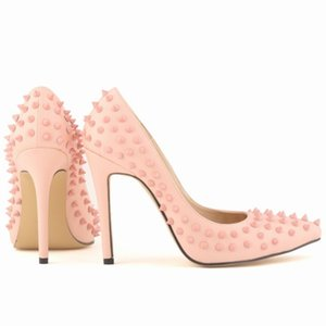 2020 New Arrival Fashion Rivet Pointed Toe High Stiletto Heels Pumps Wedding Party Shoes Slip On Womens Footwear Zapatos Mujer