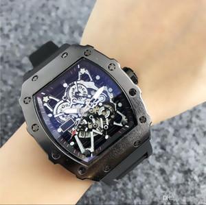 2020 venta caliente del reloj para hombre de lujo y diseño de pulsera Negro correa de silicona de moda relojes del deporte del análogo de cuarzo Reloj Masculino Relógio