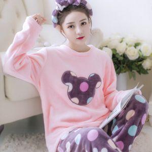 Женщины милый мультфильм коралловые пижамы набор рубашка с длинным рукавом брюки сна набор Зимняя фланель пижамы девушка 2 шт. пижамы костюм ночная рубашка