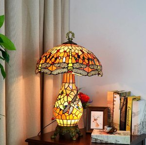 European high end Tiffany lamps stained glass lamp living room bedroom bar large table lamp American retro lamps decorative lamp