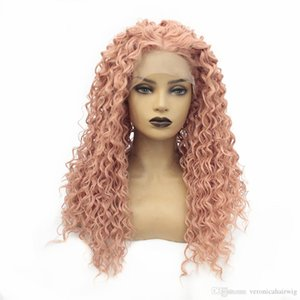 Natural Long Curly Synthetic Lace Front Wig Rose Pink Color 180% Density with Baby Hair Heat Resistant Cosplay Wigs For Women