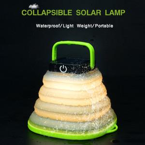 LED Solar portátil Lanterna Camping dobrável lanternas 800mAh USB recarregável Luz Mini Tent Luz Lâmpada de Emergência branco quente colorido