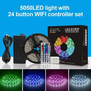 5050LED شرائط الضوء مع 24 زر تحكم مجموعة 5 متر داخلي مصباح السقف الشاسيه مصباح موبايل واي فاي التطبيق التحكم الذكي --M25