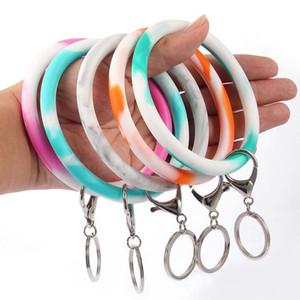 Polso della catena Portachiavi Camouflage braccialetto in silicone Portachiavi rotondo del cerchio arcobaleno braccialetto chiave di Keychain per la donna cinturino da polso caldo K61Q