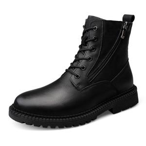 Stivali invernali da uomo in pelle nera Stivali in vera pelle con cerniera Stivali casual in pelle con punta rotonda Stivali da lavoro per uomo