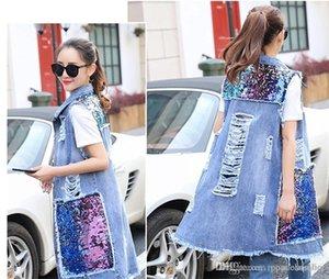 Verano de las mujeres diseñador Escudo de primavera y verano de las mujeres prendas de vestir exteriores de luz azul de las señoras abrigos Jean chaleco de lentejuelas Denim