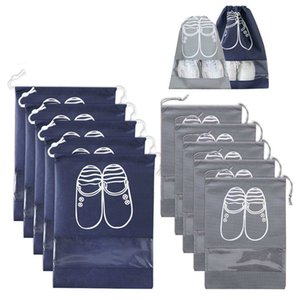 Promotion! 10Pcs Drawstring Shoe Organizer Waterproof Portable For Men And Women Space Saving Storage Bags Sets Navy And Grey