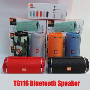 Hot TG116 Wireless Bluetooth Speaker Waterproof Portable Dual Speaker Super brass Outdoor support TF card FM Radio In Stock