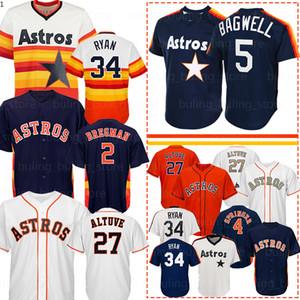 2 Alex Bregman 27 José Altuve Jersey 5 Jeff Bagwell 4 George Springer 34 Nolan Ryan 35 Justin Verlander Biggio Correa camisetas de béisbol