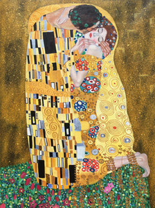 Goldblatt Gustav Klimt Ölgemälde Der Kuss Die Liebhaber Kunst auf Leinwand handgemaltes schönes Kunstwerk für Wohnzimmer Schlafzimmer Wanddekor