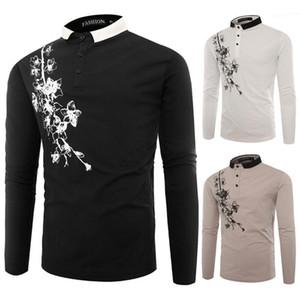 Lambrissé Hommes Lapel Neck Polos hommes Vêtements décontractés imprimé floral Mens Fashion Designer Boutons d'impression Polos