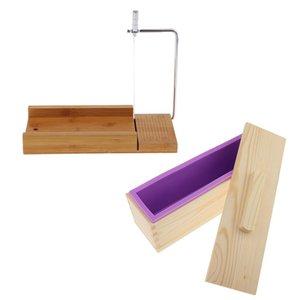 DIY Soap / Cake / Çikolata Yapımı Araçları Ahşap Kutu, Silikon Sabun Loaf Kalıp ve Sabun Kesici Tel Dilimleme,