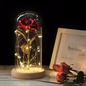 Rose ligera lámina de oro con cubierta de cristal flores artificiales de Rose para San Valentín regalo del día de madres Inicio de decoración de interior HHA1152