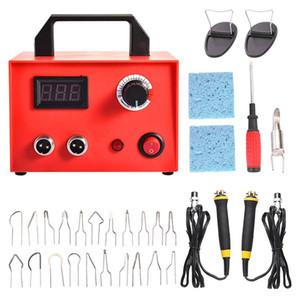 Wood Burning Kit, 23 Pcs Wood Craft Tool Kit Adjustable Dual Pen with Digital Display(100W) EU Plug