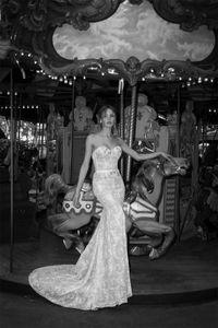 Netta Ben Shabu sirène robes de mariée chérie cristaux Dentelle Perles de luxe Custom Made Vestidos De Novia avant de Split Robes de mariée