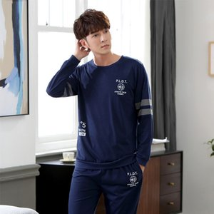 Yuzhenli Spring Mens Pajamas Lingerie Men Sleepwear Cotton Pijama Hombre Pajama Sets Men Home Clothing Night Shirt+ Pants XXXL