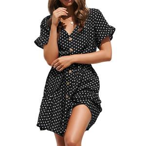Kadınlar için vintage lekeli elbiseler artı boyutu bohemian dress casual uzun kollu ruffled gömlek düğmeleri elbiseler yaz femme toptan