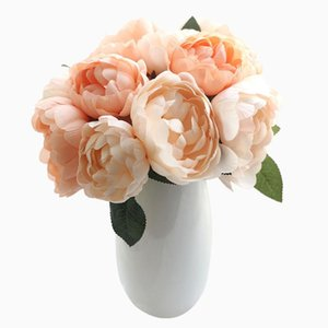 6 Heads Artificial Flower Indoor Outdoor Floral Decoration Wedding Party Ceremony Fake Flower Bouquet