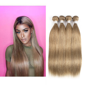 Ash Blonde Straight Hair Weave Bundles #8 Brazilian Malaysian Indian Peruvian Remy Human Hair Extensions 3 Or 4 Bundles 16-24 inch