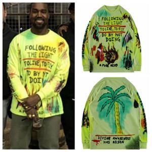 Fashion-Kanye West Hommes T-shirts manches longues peinture Marque Designer Hip Hop Printemps Automne Hiver T Mode Streetwear T-shirts KY7