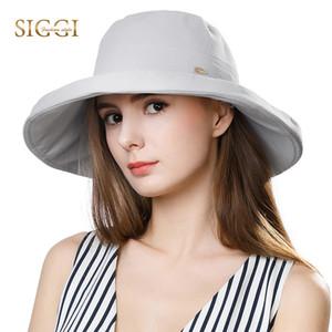 FANCET Summer Womens Sun Hats 솔리드 코 튼 조정 가능한 방풍 코드 와이드 브림 캐주얼 버킷 모자 패션 Gorros 99701