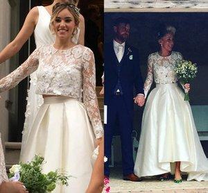 Vestidos de boda de espalda larga delantero corto Dos piezas de manga larga Top de encaje Satin Una línea Vestido de novia barato frontado Vestidos nupciales Nuevo