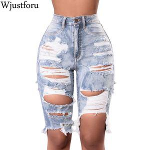 Wjustforu atractivo vaqueros rasgados pantalones Agujeros mujeres flacas Jean Femme pantalones de cintura alta Mujeres Casual Jean hasta la rodilla Vestidos