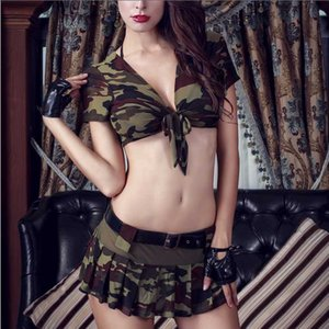 Women Halloween Costumes Role-playing Sexy Uniform Top Skirt with Hat Thong Bra Sexy Costumes Set Party Clothing