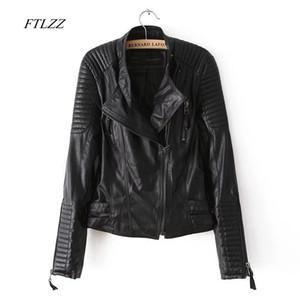 FTLZZ New 2019 frau Design Frühling Herbst PU Lederjacke Stehkragen Grundlegende Mantel Schlank Reißverschluss Motorrad Punk Outwear Jacken