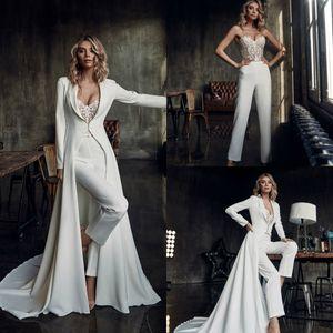 2020 New Bohemian Vestidos do casamento do laço Jumpsuit com Long Jacket Appliqued Querida nupcial Pants Suit Custom Made Praia Vestidos De Novia
