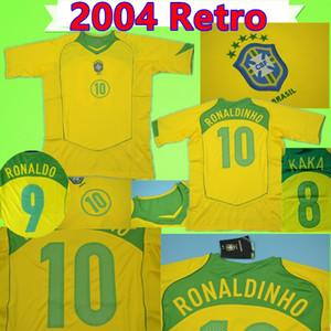 2004 브라질 축구 유니폼 레트로 04 축구 셔츠 빈티지 클래식 골동품 컬렉션 유니폼 # 9 RONALDO # 10 RONALDINHO # 8 KAKA # 7 ADRIANO